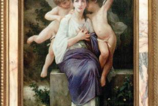 Awakening of love (Angelo Granati масло на холсте 160х110 золоченная-деревянная-рама-со-мраморными-вставками-из мрамора Rosa of Portugal)