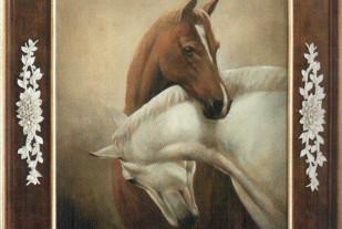 Couple of Horses (Mark Majer, масло на холсте, рама из лакированного и золоченного дерева с композицией из фарфоровых роз)