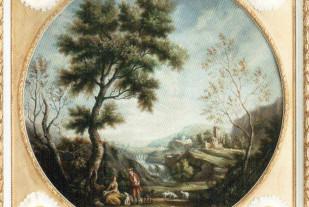 Landscape-(Antonio-Montini-масло-на-холсте-100-см-эта-картина-была-помещена-в-одну-из-самых-оригинальных-рам-коллекции---Luminiscenze-Napoletane.-позолоченное-дерево-и-цветы-с-подсветкой)