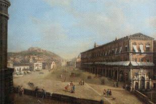 Naples View of Royal Palace (Mario De Angeli, масло на холсте 140х180, деревянная рама неаполитанской ручной резьбы и золоченная листовым золотом)