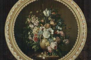 Flowers (Carlo de Tomassi, масло на холсте 80-см деревянная рама золоченная листовым золотом 2-ух оттенков, декорированная композицией из фарфоровых цветов изготовленных на фабрике Capodimonte)