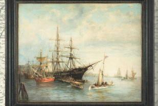 In the harbour (John Stevens, масло на холсте 80х10, лакированная махогоновая деревянная рама)