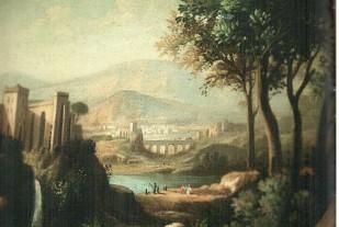 Italian Landscape (Luigi De Santis масло на холсте 40х40 позолоченная и лакированная рама)