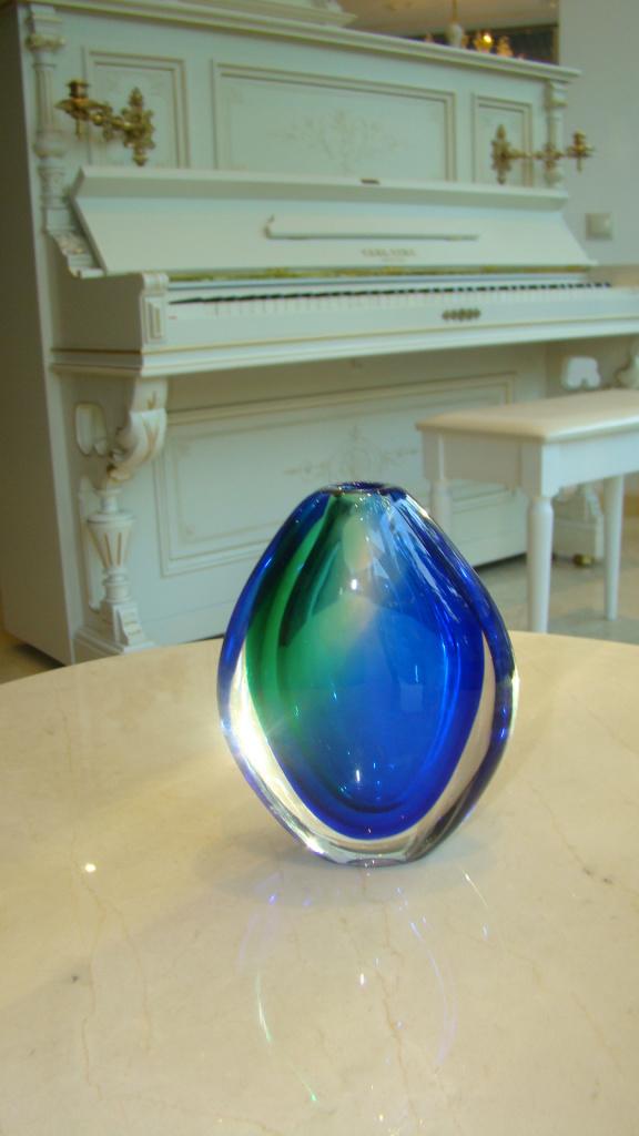 Ваза, Италия,  Муранское стекло (синяя)